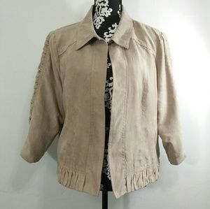 Christopher & Banks Faux Suede Ruffle Jacket